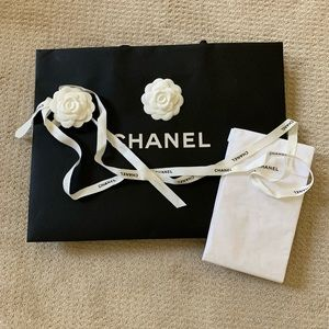 Chanel shopping bag, ribbon and tissue paper